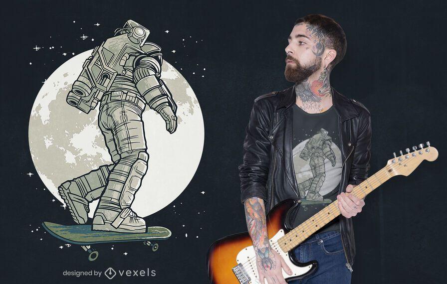 Diseño de camiseta skater astronaut moon