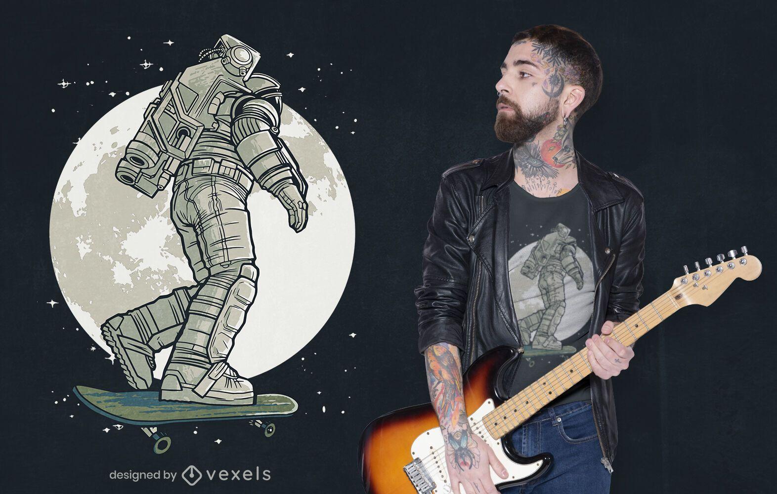 Skater astronaut moon t-shirt design