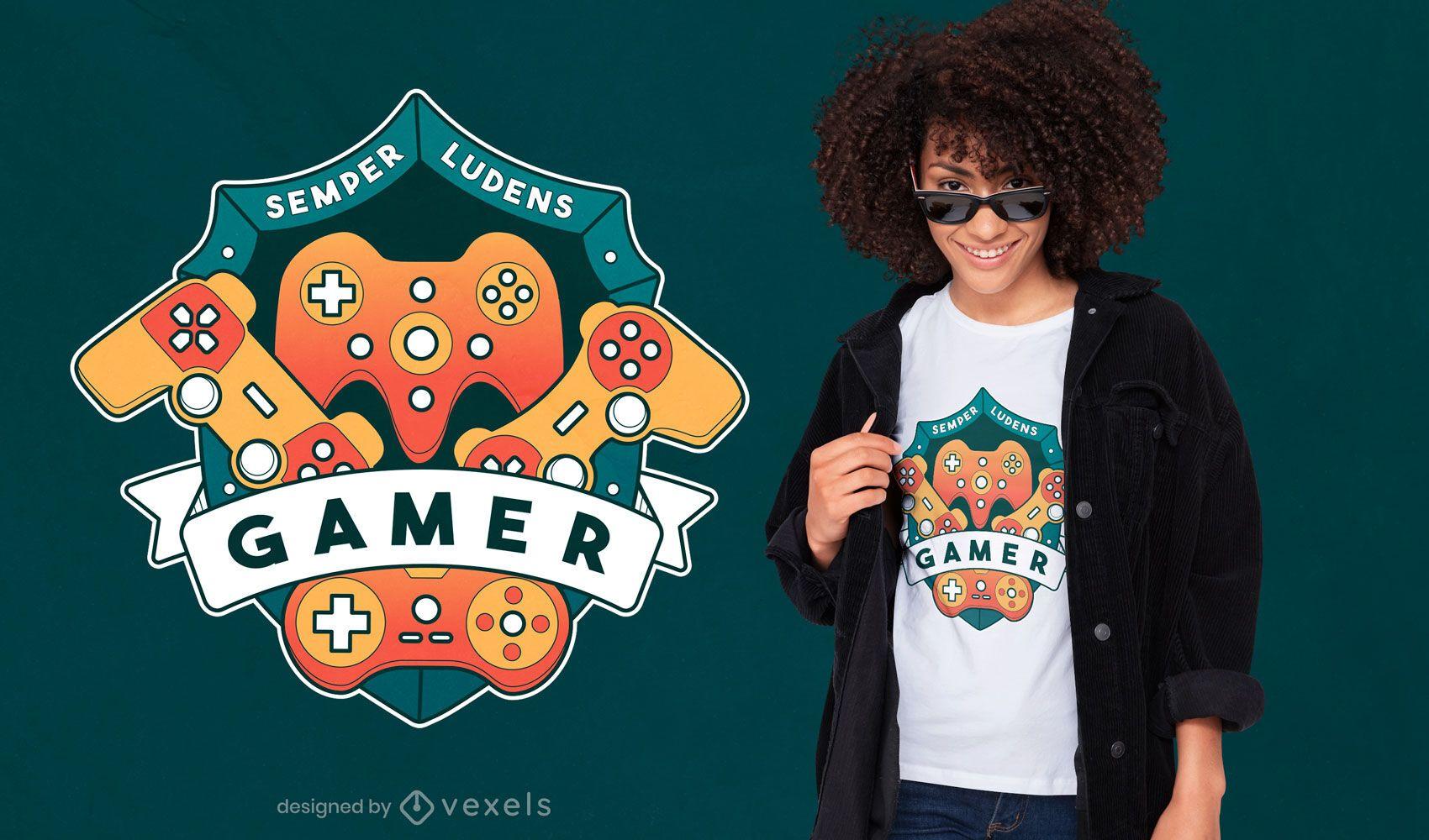 Design de camiseta com joystick de escudo de jogador