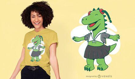 Diseño de camiseta de dinosaurio de niña de la escuela.