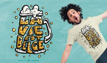 Diseño de camiseta con cita de cerveza belga.