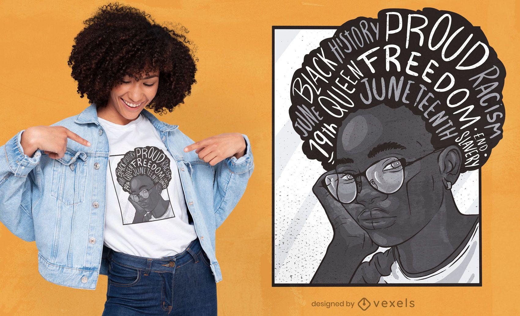 Diseño de camiseta de niña negra de junio