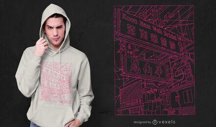 Tokyo street neon line art t-shirt design