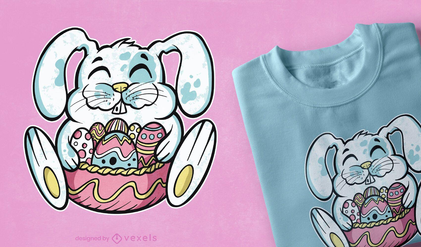 Diseño de camiseta de dibujos animados de conejito de pascua