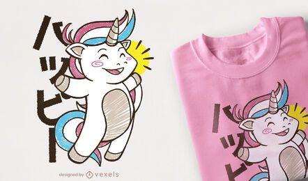 Diseño de camiseta kawaii unicornio saltando