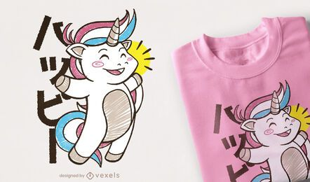 Kawaii unicorn jumping t-shirt design