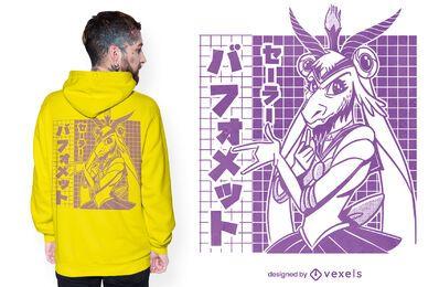 Diseño de camiseta de anime baphomet