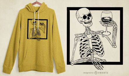 Diseño de camiseta espeluznante de vino esqueleto