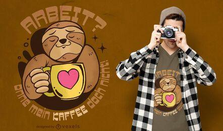 Diseño de camiseta de perezoso amante del café.