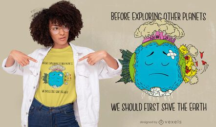 Diseño de camiseta Save the Earth