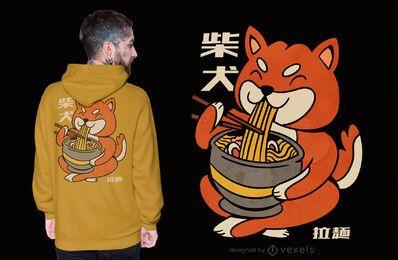 Diseño de camiseta shiba inu dog ramen