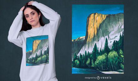 Diseño de camiseta de paisaje de pintura de Yosemite