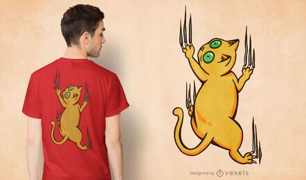 Diseño de camiseta de arañazos de escalada de gato.