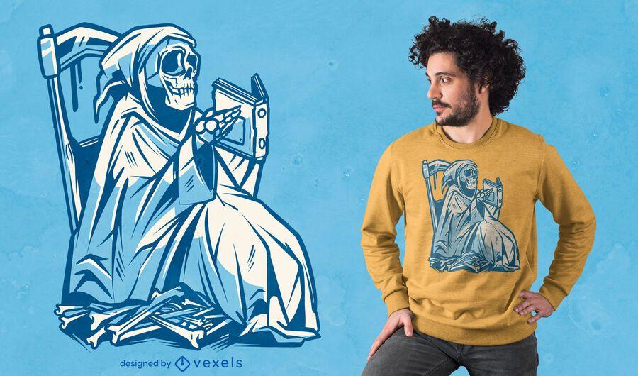 Grim Reaper reading t-shirt design