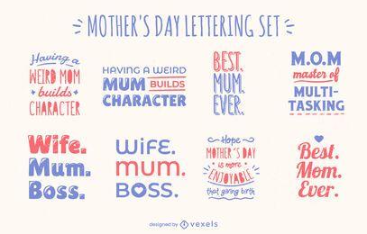 Conjunto de letras de citação de celebração do dia das mães
