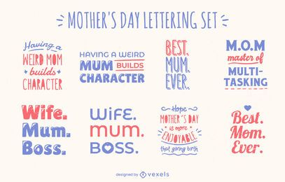 Mother's day celebration quote lettering set