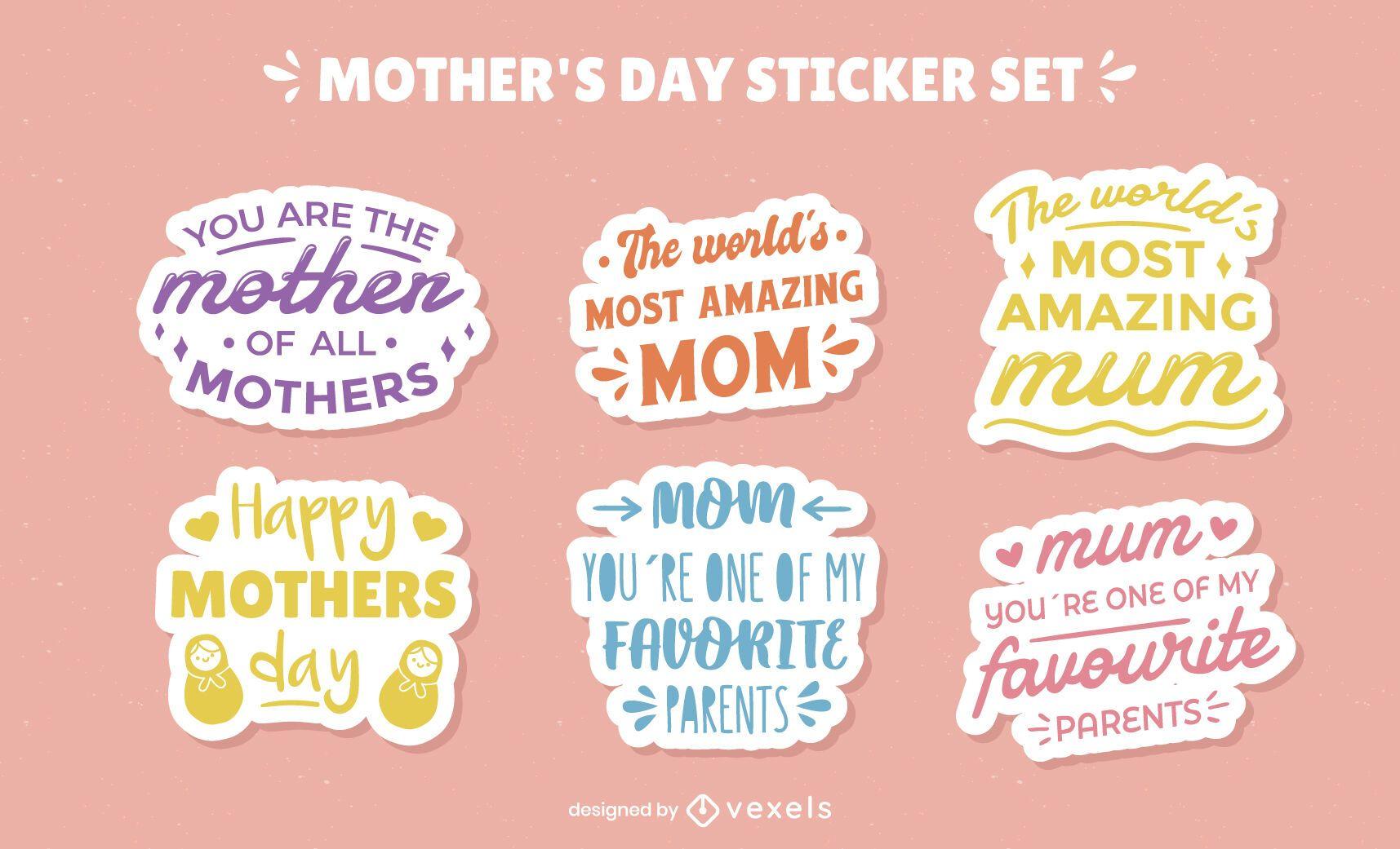 Mother's day celebration colorful lettering set