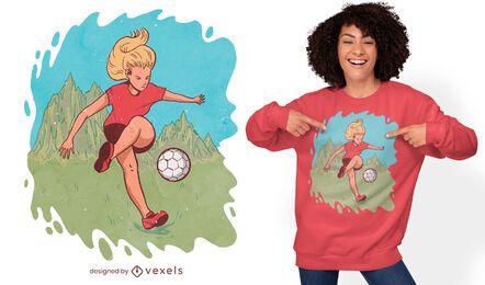 Diseño de camiseta de mujer jugando fútbol