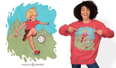 Woman playing soccer t-shirt design