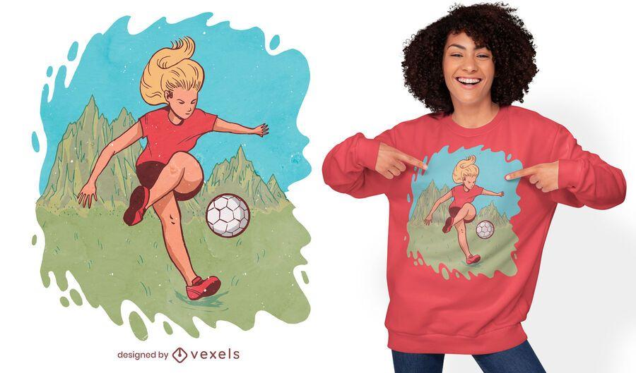Woman playing soccer t-shirt design