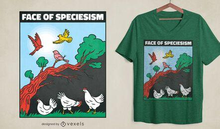 Diseño de camiseta de pollo y aves de especieismo.