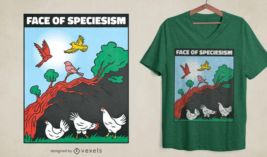 Speciesism chicken and birds t-shirt design