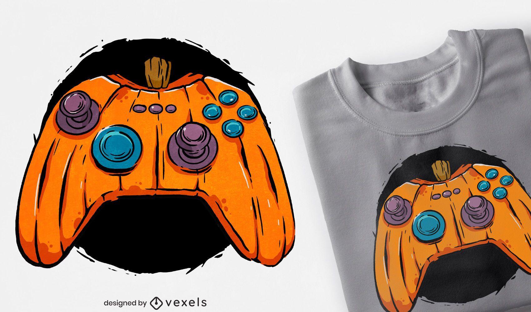 Design de camiseta para jogador com joystick de abóbora