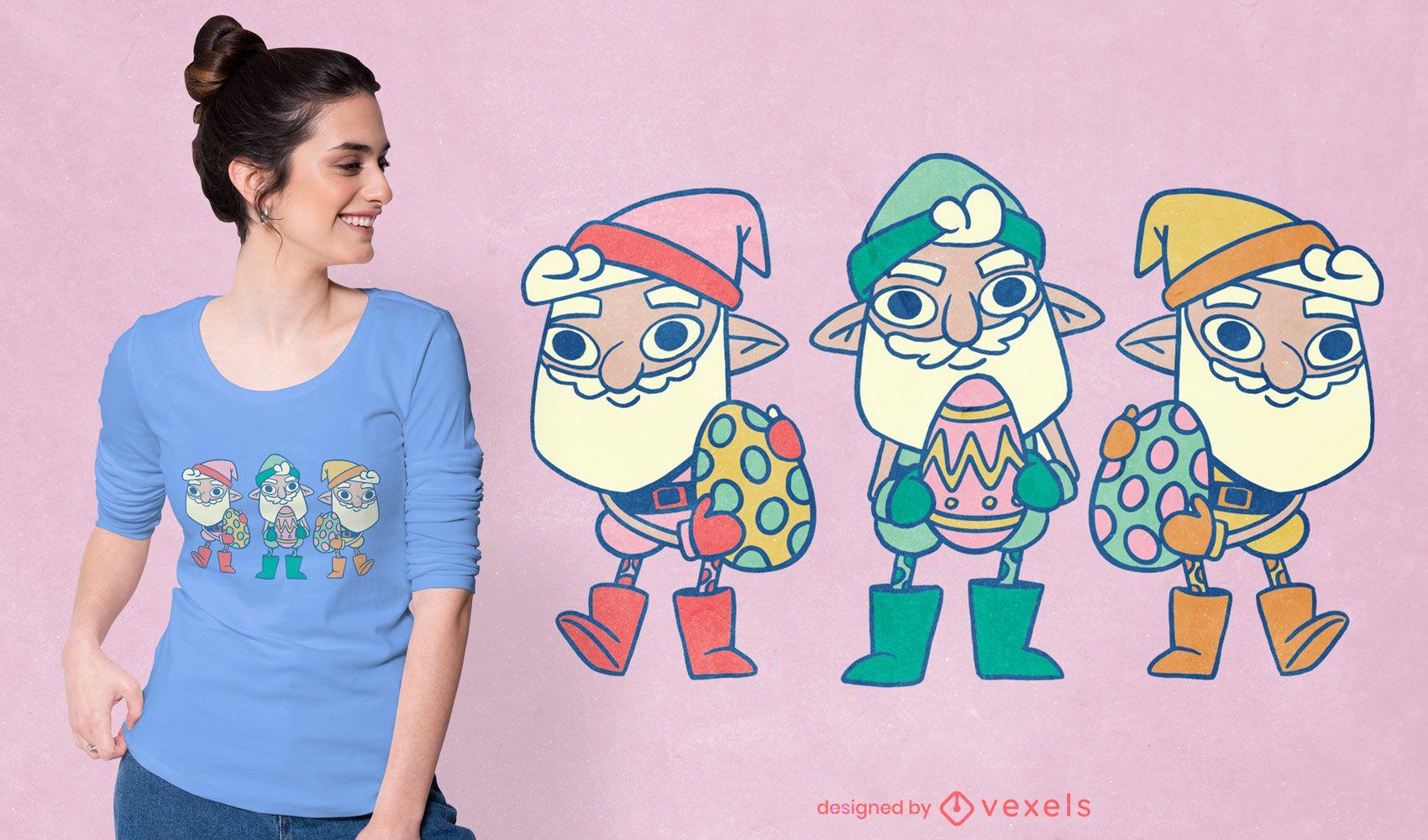 Diseño de camiseta de dibujos animados de gnomos de pascua