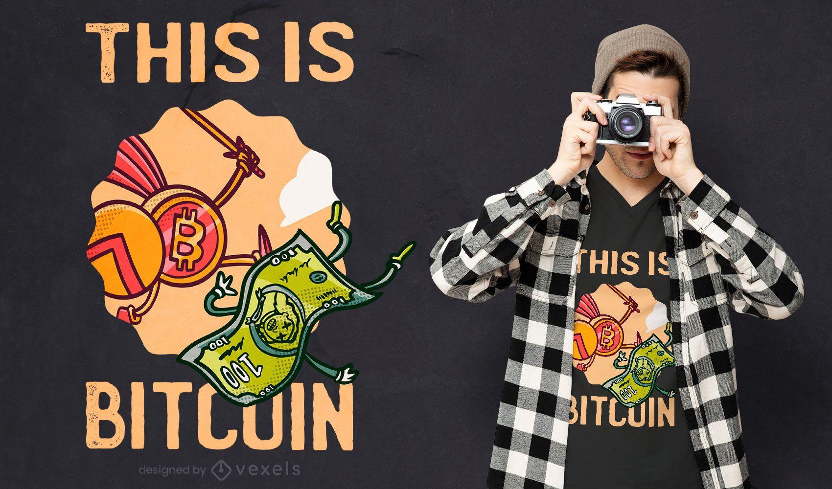 Diseño de camiseta con cita de bitcoin espartano
