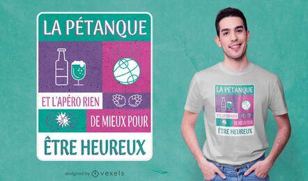 Diseño de camiseta de petanca y aperitivo.