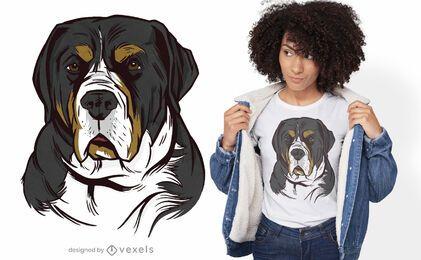 Gran diseño de camiseta de perro de montaña suizo.