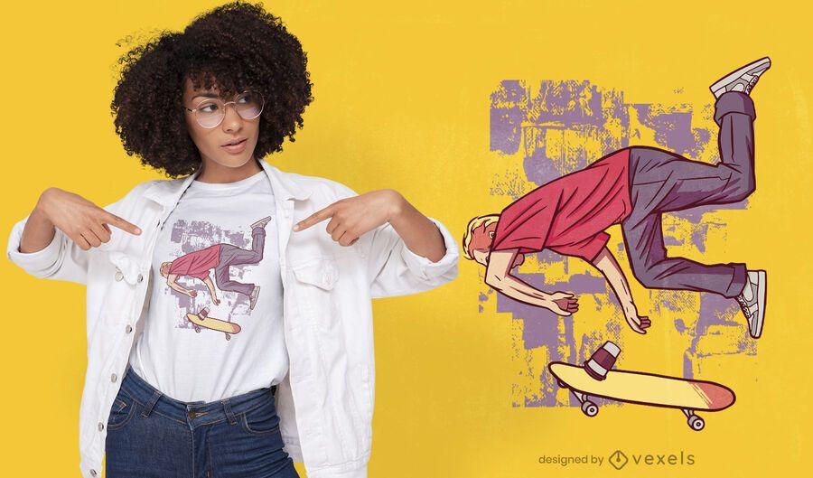 Skater fallendes T-Shirt Design