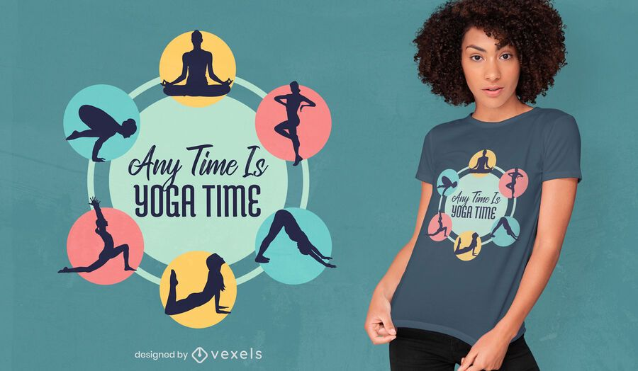Any time yoga time t-shirt design