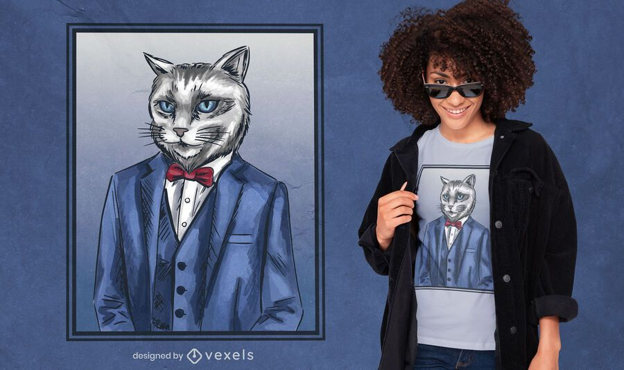 Cat wearing suit t-shirt design
