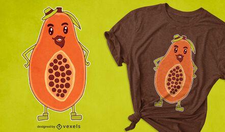 Diseño de camiseta de dibujos animados de papaya
