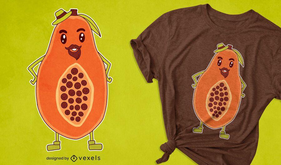Papaya cartoon t-shirt design