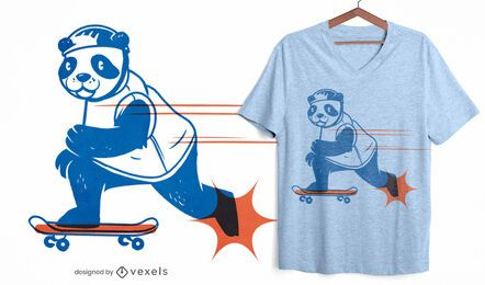 Diseño de camiseta skater panda