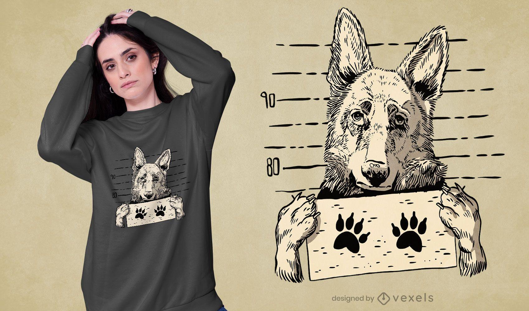 Deutscher Schäferhund Hund Fahndungsfoto T-Shirt Design