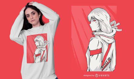 Design de camiseta de personagem feminina de anime de ação
