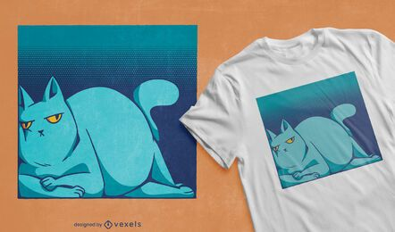 Diseño de camiseta de gato perezoso con espacio cuadrado.