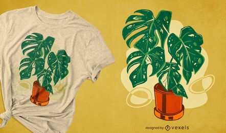 Design de camiseta com planta de casa Monstera