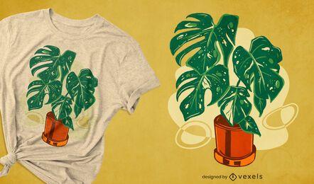 Diseño de camiseta de la planta de la casa Monstera.