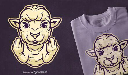 Design de t-shirt de dedo médio de ovelha