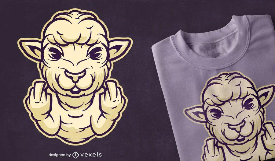 Diseño de camiseta de dedo medio de oveja.