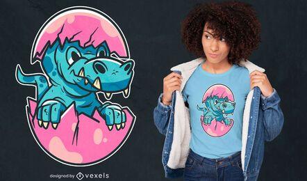 Diseño de camiseta de huevo de dinosaurio.