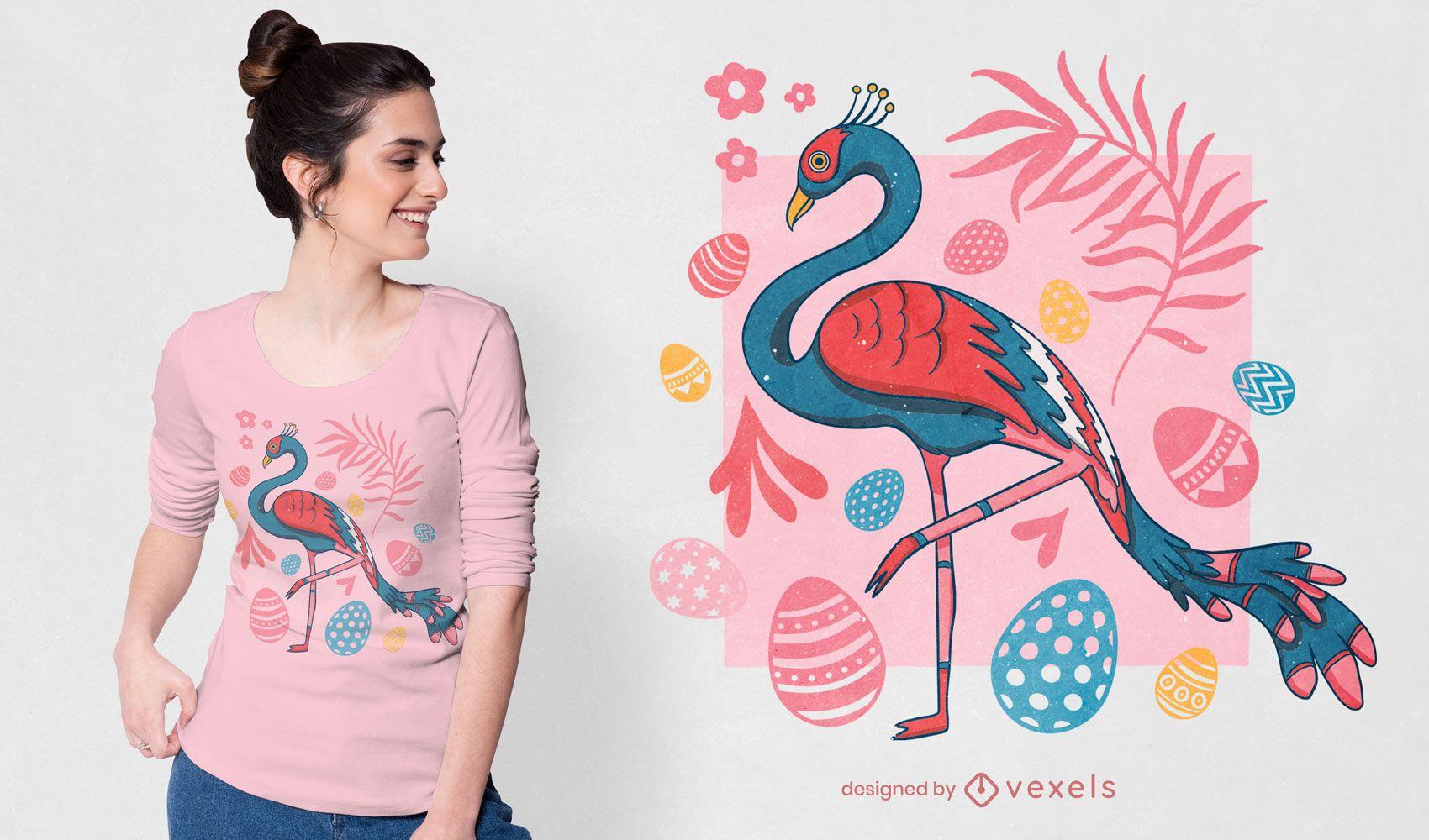 Diseño de camiseta de flamenco de pascua