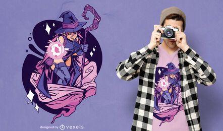 Diseño de camiseta de mago anime girl