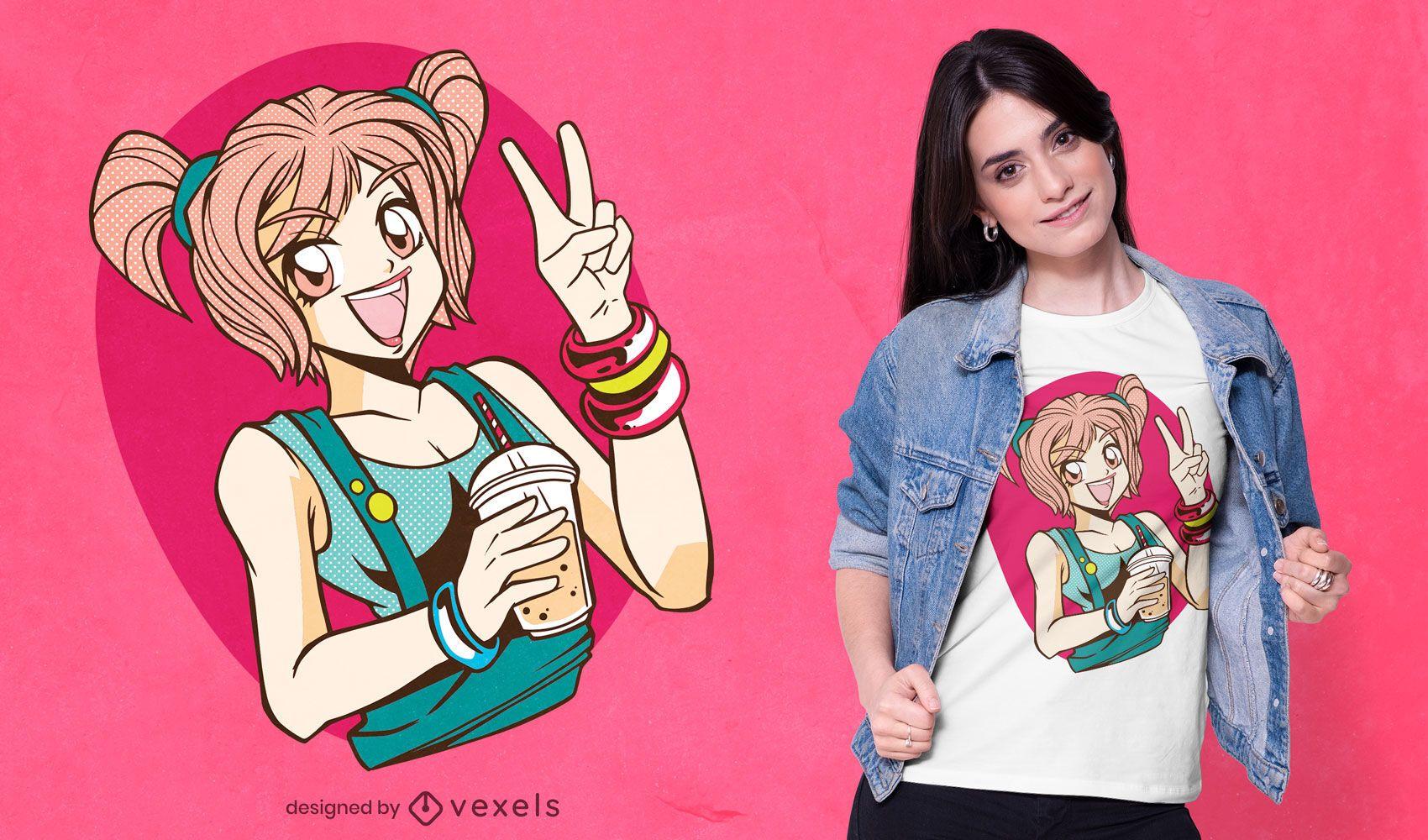 Diseño de camiseta de anime bubble tea girl