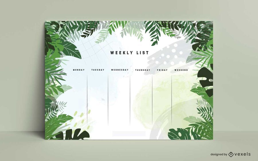 Jungle leaves weekly planner design