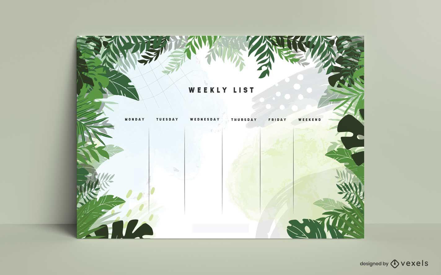 Dise?o de planificador semanal de hojas de selva.